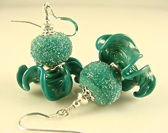 Lampwork Earrings, Glass Bead Earrings, Green Dangle Earrings, Beadwork Earrings, Lampwork Jewelry, Forest Green Beaded Earrings