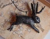 Cunene Jackalope pendant, sculpture black polymerclay
