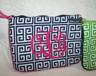 SMALL Greek Key Cosmetic NAVY & WHITE Personalized