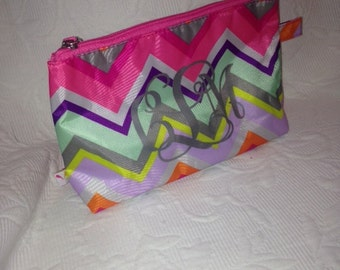 Personalized Cosmetic Bag, Monogrammed Chevron SMALL Cosmetic Bag