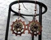 Copper and Brass Steampunk Gear Earrings