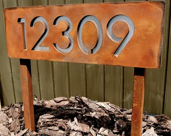 Custom Modern House Numbers Horizontal Rusted Steel & Stainless Ground Stakes