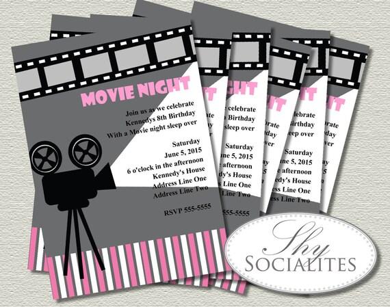 Pink Amp Grey Movie Night Invitation Cinema Hollywood Movie
