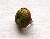 SALE Golden Green statement ring large round button style polymer clay ring bold jewelry autumn forest green bronze