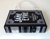 Jane Eyre Book Purse or Book Clutch, made from Black Leather Book Cover, Ready to Ship