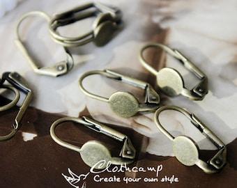 10 Pcs  Antique Brass  Earring ear hook 6mm pad  NICKEL FREE-17mm  (EAR-44)