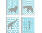 Ikat Safari Wall Art Girl Boy Nursery Neutral Personalized Letter Initial Mist Grey Carousel set of 4