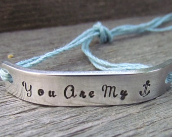 Friendship Bracelet ONE Hand Stamped Couples Jewelry Name Tie On Hemp Cord Personalized Jewelry You Are My Anchor His And Hers Anniversary