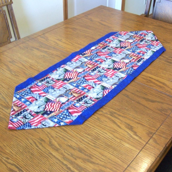 Patriotic Table Runner with Mount Rushmore, Statue of Liberty, the Liberty Bell, and Flags