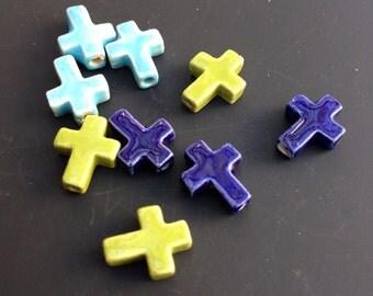 Sideways Cross Beads, ceramic, 9 beads, 13 x 10mm