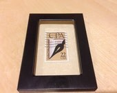 CPA - Recycled postage stamp Framed art - accounting, accountant gift, cpa gift