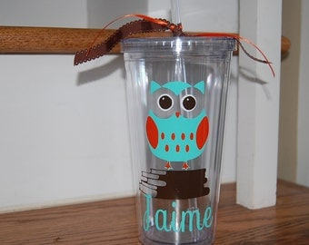 Vinyl Personalized Owl school straw cup tumbler insulated double wall BPA-free acrylic perfect gift for teachers, moms, coworkers, anyone