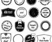 Stamps 2 Clipart Clip Art, Vintage Postage Badge Label Frame Clipart Clip Art - Commercial and Personal