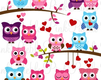 Valentine Owl Clipart Clip Art, Valentine's Day Owls Clipart Clip Art Vectors - Commercial and Personal