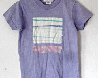 Girl's Lavender Cotton T-Shirt,  size 6/8  youth, tie dyed patch