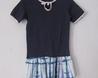 Girl's Navy Dress Lace Edging Cotton TIe Dyed Flounce 6/8