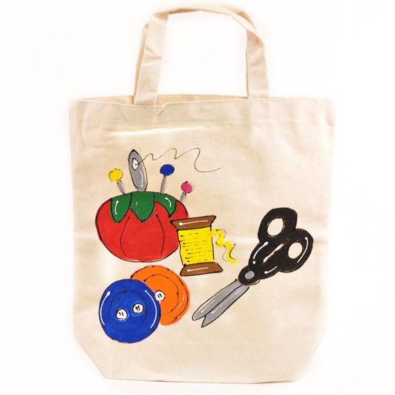 Arts and crafts canvas tote sewing travel bag for Arts and crafts tote bags