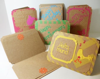 Greeting Cards- All Occasion- 6 Card Set- Embossed- Lined- Boxed- Handmade