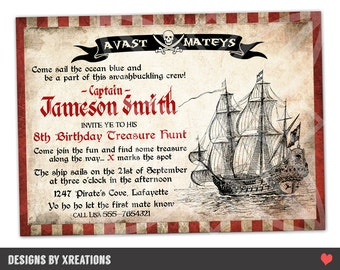 Pirate Party Invitation, I will customize for you, Print your own, Digital file