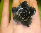 Black and Silver Rose Ring
