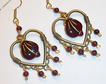 Garnet Heart Earrings, Free US Shipping