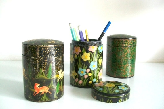 Reserved For Pam -Handmade Vintage Paper Mache Woodland Box from Kashmir India