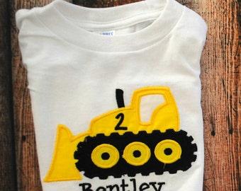 Dozer Consturction Truck Birthday Personalized Boy's Shirt