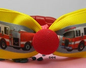 Dog Collar Firemen Fire Trucks Red Collars Firemen Ribbon Bow Tie Adjustable D Ring Choose Size Pet Pets Fire Fighter Captain Engine Medical