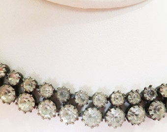 Vintage jewelry necklace in Juliannian style double strand clear rhinestones with antiqued high polish finish necklace