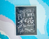 SALE! God's Gifts, Dreams Quote, Faith Quote, EB Browning Quote, Typography Print, Chalkboard Print, Hand Lettered Quote, 5x7 Print