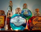 5 Potion Bottles Halloween Decoration Prop - Mandrake, Hemlock, Blood of Bat, Mugwort, Life Renewal - pbleu