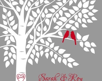 Red and Gray Wedding Guest Book Guestbook Tree Personalized Wedding Print - 16x20-150 Signature Keepsake Guestbook Poster