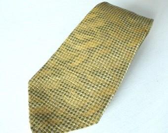 Vintage Gold and Sage Tie, 50 % Silk, Sichel of Portland Or, 1980's Wide Necktie