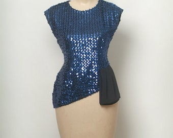 Vintage 80s  Blue Sequence Shirt /  80s Blouse / stretch /  Beautiful Sparkly Top / vintage blouse  / Sequin / 1980s / 70s / Sequence blouse