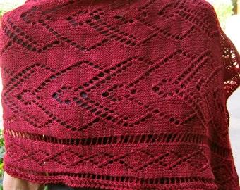 Knit Wrap Pattern:  Bleeding Hearts Lace Shawl Knitting Pattern