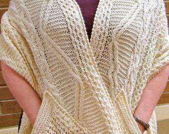 Knit Wrap Pattern:  Warm Fisherman Pocket Shawl Knitting Pattern
