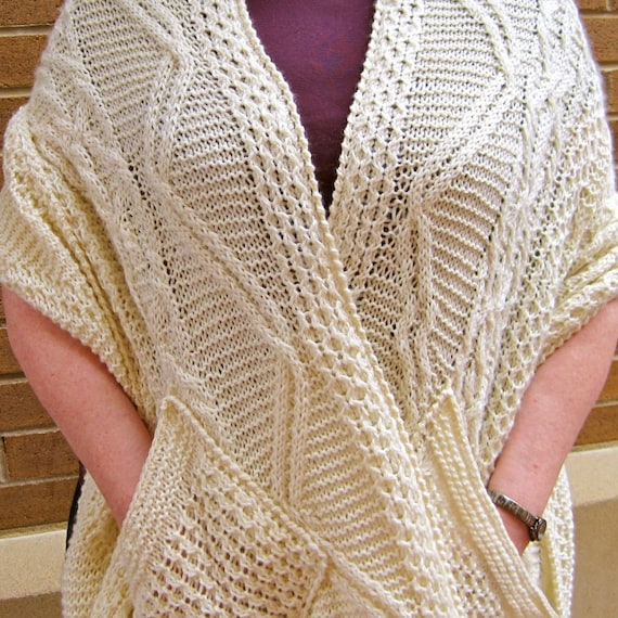 Knit Wrap Pattern: Warm Fisherman Pocket Shawl Knitting