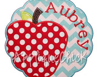 Apple Scalloped Patch Applique Design