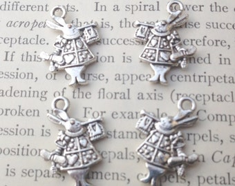 White Rabbit Charms Alice in Wonderland lot of 4