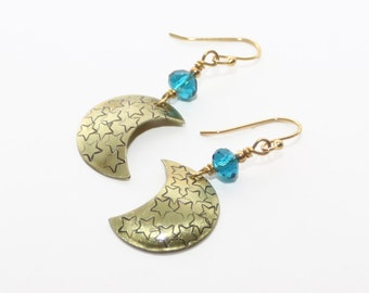 Gold and Teal Moon Earrings