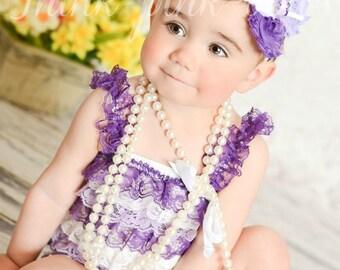 Baby headband and petti lace romper SET. Petti romper,Lace petti romper,romper,lace romper,baby headbands,shabby chic headband,hair bow.