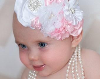 Baby headband,Pink  baby headband, baby headbands, Valentines headband, Easter Headband, Newborn Headband, Flower baby headband, Hair Bows.
