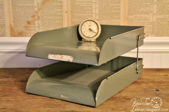 Vintage Metal Office Trays - Industrial Stacked Mid-century In and Out Paper Trays