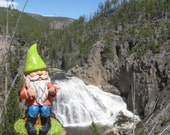 "Gnoah the gnome at Gibbon Falls, Yellowstone National Park (3"" x 4"" framed photograph) -Wyoming, garden gnome, vacation, travel, waterfall-"