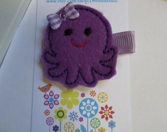 Octopus Felt Clippie - Purple Lavender - Summer - Hair Clip - Party Favor