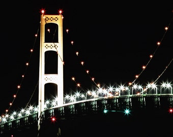 Closeup of Michigan's Mackinac bridge at night color print