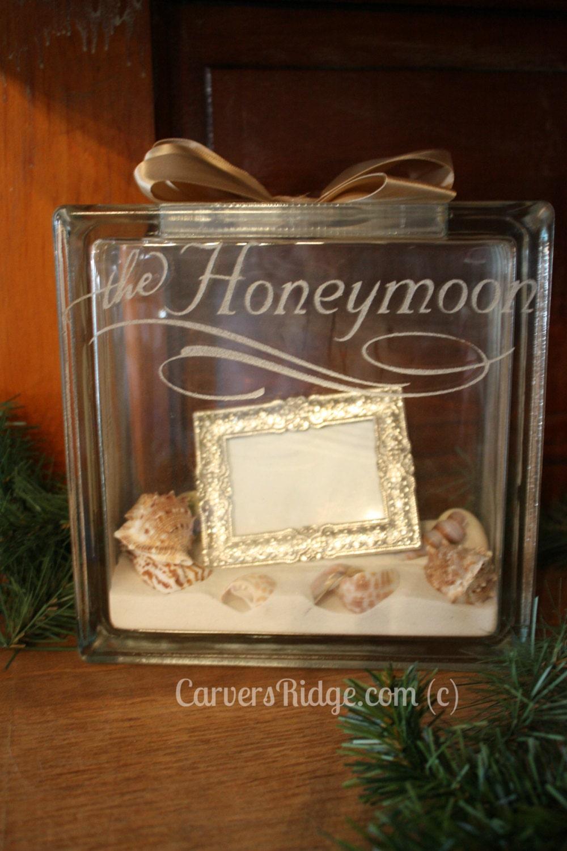 custom engravable glass block with photo frame by carversridge