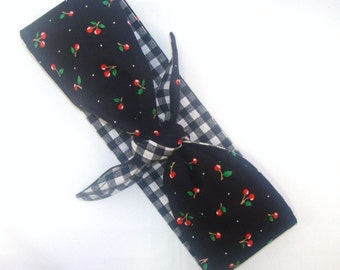 Head Scarf, Cherry on Black with Black Gingham Reversible Rockabilly Headband 50s pinup