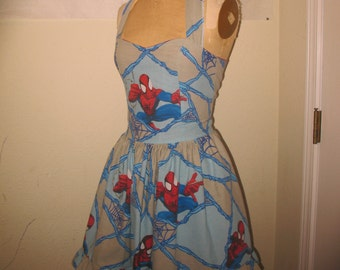 Spiderman in his web Sweet Heart Geekery Pin Up Ruffled Halter Mini Dress