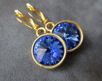 Sapphire Jewelry, Gold September Birthstone Earrings, Dangles, Crystal Birthstone Jewelry, Blue Sapphire Drop Earrings